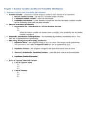 NOTES_Chapter 7_Random Variables and Discrete Probability Distributions
