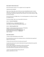 Study Guide for Global Society test 2 Fall 2012
