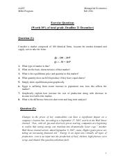 Mangerial Economics,  Assignment