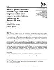 Mutual gains or mutual losses- Organisational fragmentation and employment relations outcomes at Qan