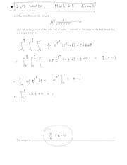 Second Exam Winter 2015 solutions
