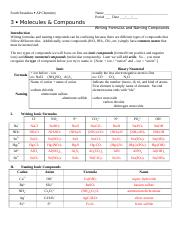 chp 3 Formulas and Nomenclature worksheet key