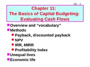 Lecture 8 - The Basics of capital budgeting - NR