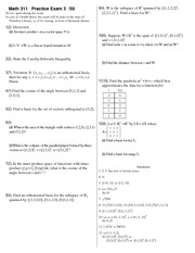 Practice Exam 3 on Linear Algebra