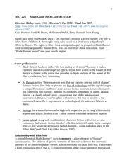 225 WEB SP 2012 STUDY GUIDE FOR BLADE RUNNER