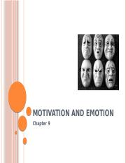 Ch 9 Motivation & Emotion