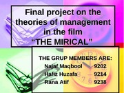 Final project on the theories of management in
