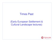 settlement and cultural lectures