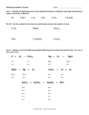 Printables Balancing Equations Practice Worksheet balancing equations practice name part a
