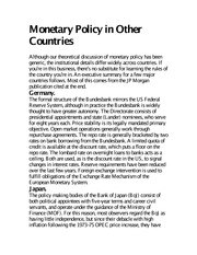 Monetary Policy in Other Countries notes