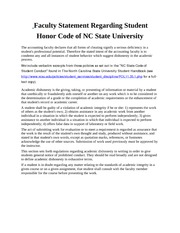 Faculty Statement Regarding Student Honor Code