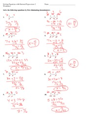 Handout Solving Equations With Rational Expressions 2 Key