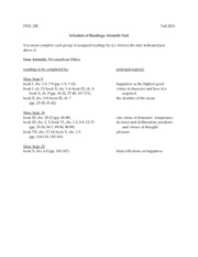 FALL 2013 - PHIL230 - READING SCHEDULE - ARISTOTLE