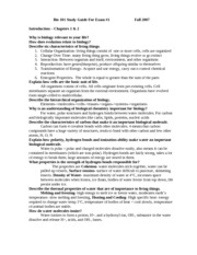 Bio 101 Study Guide For Exam 1