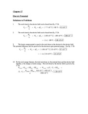 Chapter 17 Some solutions given tostudents Questions 1,2 3 and 10