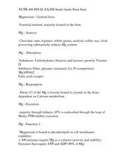 NUTR 446 FINAL EXAM Study Guide Penn State