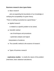 Business research class types Notes