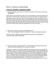 Human Biology BIOL 110 DLB FALL 2014 Worksheet 11 completed