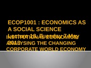Lecture 18 [Institutional economics Analysing the changing corporate world]