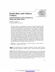 Death Rites and Chinese Culture Standardization and Variation in Ming and Qing Times