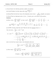 Exam 3 Spring 2011 Solution on Calculus 2 for Engineers