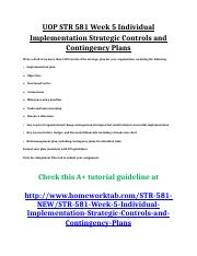 UOP STR 581 Week 5 Individual Implementation Strategic Controls and Contingency Plans