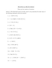 Practice Problems for Truth Tables (2)