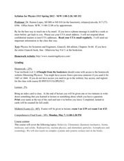 Physics 3313 Spring 2012 Syllabus