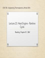 lecture 23-Heat Engines - Rankine Cycle