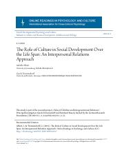 The Role of Culture in Social Development Over the Life Span