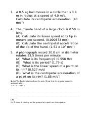 centripetal acceleration worksheet 1