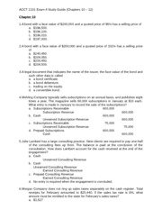 ACCT 2101 Exam 4 Study Guide No Solutions