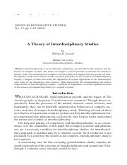 A Theory of Interdisciplinary Studies_Newell