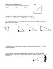 Geometry Honors Trig Test Review 2  Name
