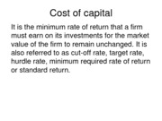 Cost of capital (Assignment)