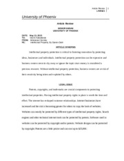 article review e business and intellectual property Do not delete 11/30/2014 3:25 pm 691 article what kind of property is intellectual property julie e cohen abstract this article considers the historical, conceptual, and.