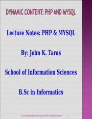 INF 230 PHP n MySQL Lecture Notes Presentation