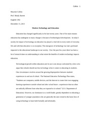 modern technology and education outline modern technology and  8 pages persuasive essay final