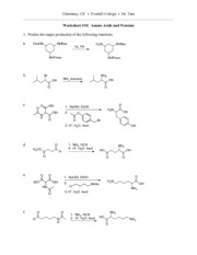 Chemistry 12C - Worksheet 10 Solutions