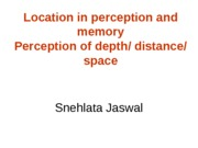 OPM - Location in object perception and memory - Perception of distance