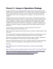 Forum 2.1 issues in oprations strategy.docx