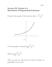 Lecture 22- Derivatives of Exponential Functions