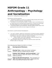 HSP3M Grade 11 Anthropology – Psychology and Socialization.docx