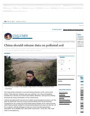 001-China should release data on polluted soil  South China Morning Post