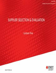 Lecture Five - Supplier Selection and Evaluation.pptx