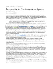 Paper, Inequality in Northwestern Sports