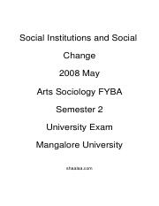 (www.entrance-exam.net)-Arts Sociology FYBA Semester 2-Social Institutions and Social Change Sample
