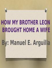 how my brother brought home a wife by manuel arguilla