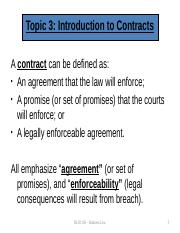 BLO1105 - Week 2 Lecture Slides Types of Contracts- Elements of Contracts- Intention to be Legally B