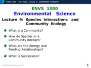 F2015-Lecture 9-Community Ecology-posted